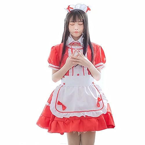 French Maid Costume Dress kostüm Sexy Lolita Kleid Uniform,Cosplay Kostüm French Maid Outfit Halloween,4 Stück als Set inklusive Kleid,Kopfbedeckungen,Schürze,gefälschter Kragen(Rot,Größe: 5XL)