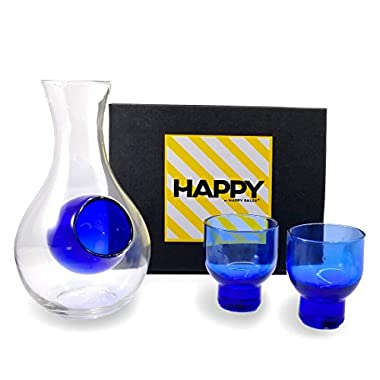 Happy Sales HSSS-GLB12, Blue Glass Sake Set for Cold Sake