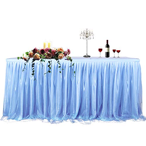 CO-AVE 6ft Blue Table Skirt for Round or Rectangle Tables Dessert Tutu Table Skirt for Wedding Baby Shower Birthday Party Decorate(L72inchH30inch)