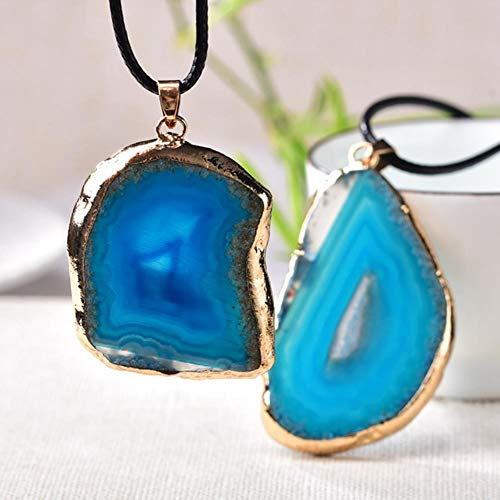 DANHUI Ornamento 1 PZ Fashion Natural Crystal Agata Tablets Pendant Colourful Natural Quarzo Energia Pietra per Gli Uomini Gioielli Donne Regalo di Natale (Color : Blue)