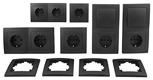 MC POWER - FLAIR - Wand Steckdosen und Schalter Set | Standard | 20-teilig | anthrazit, matt