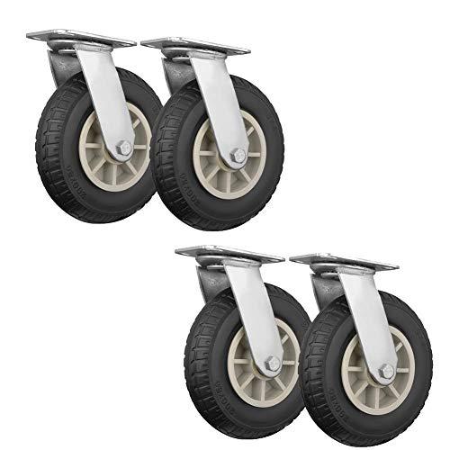 DIELUNY Castors Wheels,5/6/8' Casters, Swivel Industrial Castors Wheels, Rubber Mute With Brake Furniture Casters, Trolley (Black)
