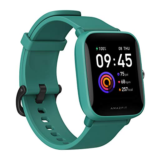 Amazfit Bip U Health Fitness Smartwatch with SpO2 Measurement 9Day Battery Life Breathing Heart Rate Stress Sleep Monitoring Music Control Water Resistant 60 Sports Modes HD Display Green