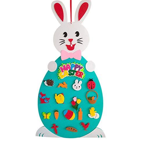 PETUFUN 2021 Ciondolo in Feltro di Pasqua Set di Conigli in Feltro Fai-da-Te con Ornamento Staccabile Decorazione Coniglietto Appeso a Parete Gioco Decorazione Regalo Forniture pasquali