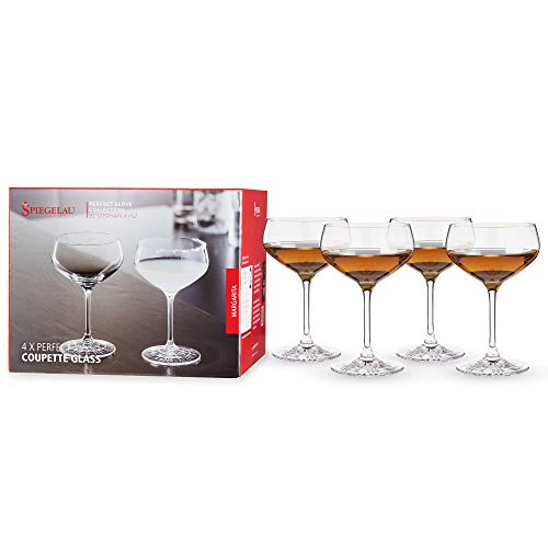 Spiegelau & Nachtmann, 4-teiliges Cocktailschalen-Set, Champagnerschale/Coupette Glas, Kristallglas, 235 ml, Perfect Serve, 4500174