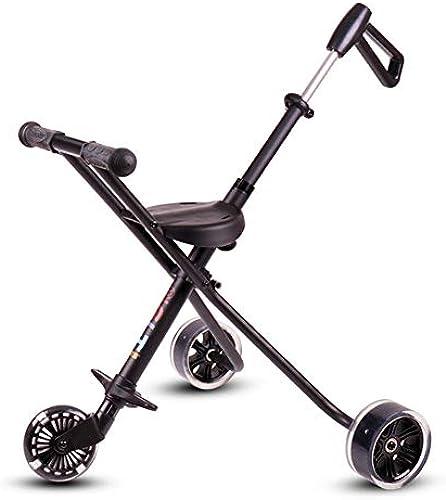 XUE Baby Stroller, Aluminium Tricycle One-Button Folding Stroller Fünf Runden mit Sicherheitssystem und Multi-Positions-Liegen-Seche Extended Canopy Easy One Hand Fold Large Storage Basket