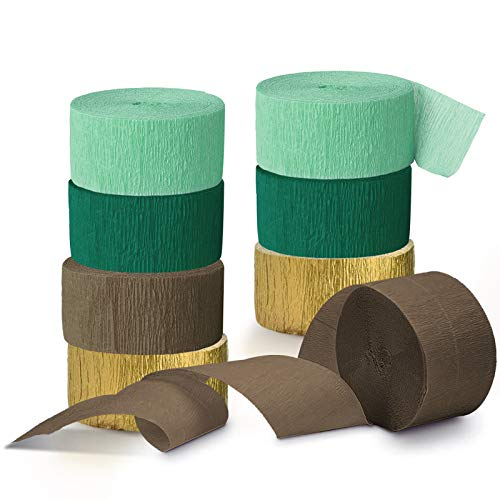 NICROLANDEE Wedding Party Decorations - 8 Rolls Green Crepe Paper Streamers Tassels Streamers for Rustic Style Bridal Shower Birthday Botanical Vintage Party Baby Shower Green Decorations