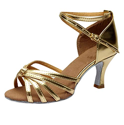 Dames sandalen vrouwen Casual Peep-Toe Gesp Schoenen Romeinse sandalen met wighak Latin Dance schoenen Med-Heels Satin Schoenen Party Tango By Vovotrade