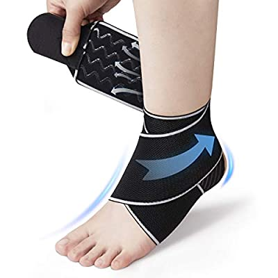 Ankle Support Straps for Men & Women, Future Way Ankle Braces Adjustable Compression Sleeves for Sports Protect, Plantar Fasciitis, Achilles tendonitis, Injury Recovery, One Size for All [1PC Gray]