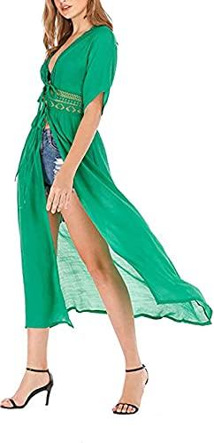 Cárdigan de Playa para Mujer Vestido Largo de Manga Corta para Playa Cubierta Cover Up de Bikini Encubrimiento de Bañador Pareo de Verano para Mar Viaje Vacaciones
