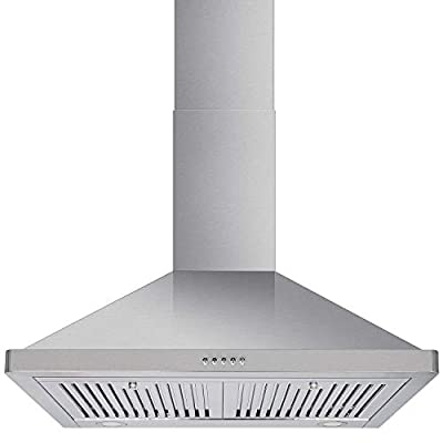 Hykolity Wall Mount Range Hood, 30in Kitchen Hood with 900 CFM Efficient Airflow, Ducted, 3-Speed Exhaust Fan, Permanent Filters, LED Lights, Chimney-Style Stove Vent in Stainless Steel