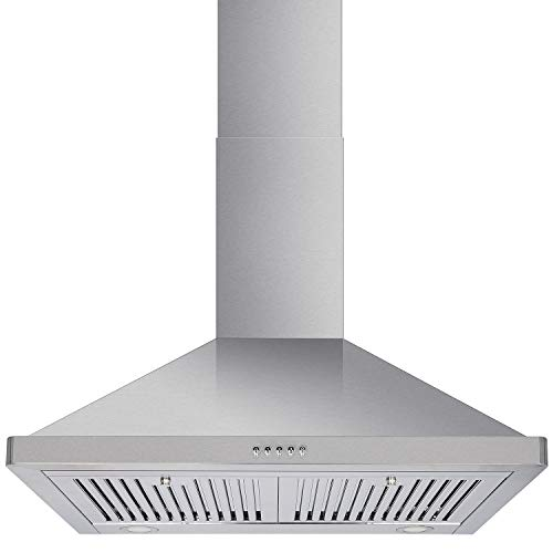 Hykolity 30 in. Wall Mount Range Hood, Kitchen Hood with 900 CFM Efficient Airflow, Ducted, 3-Speed Exhaust Fan, Permanent Filters, LED Lights, Chimney-Style Stove Vent in Stainless Steel