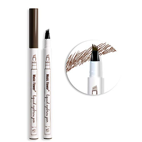 Music Flower Tattoo Brow Liquid Eyebrow Pen with Micro-Fork Tip, Microblading Pencil Fine Sketch, Smudge-proof Long Wear Natural Looking