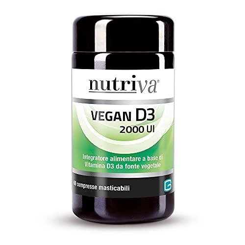 Nutriva Vegan D3 2000 IU Integratore Alimentare con Vitamina D3 di origine vegetale adatta ai vegani (60 compresse)