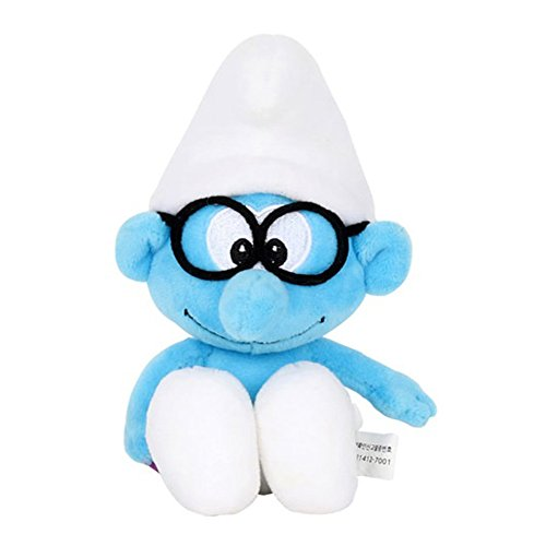 Smurfs Brainy Smurf, Stuffed Animals Plush Toy for Kids Backpack Clip 8'