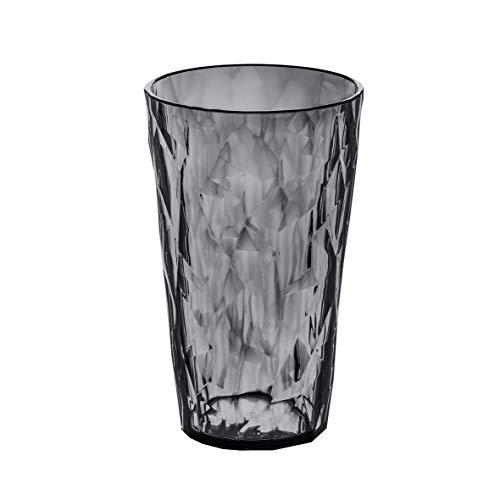 Koziol 3578540Crystal 2.0 Vaso de plástico, Color Gris Transparente, 6,8 x 6,8 x 12,1 cm, 400 ml