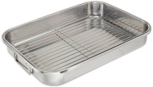 """ExcelSteel Multiuse with Rack and Foldable Handles for Easy Storage Stainless Steel Roasting Pan, 16.5"""""""