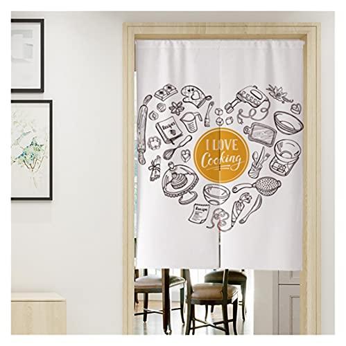 Diseño Inicio Noren Japonés Cortina de Puerta Cortina de Cortina para Cocina Bistró Partition Sombreado Decorativo (Color : L, Size : 90x180cm(35.4x70.8in))
