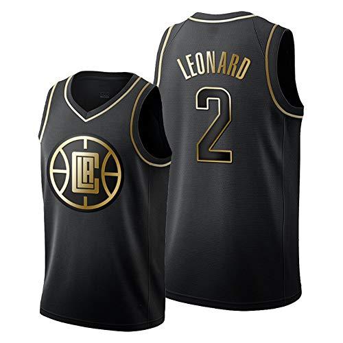 HS-XP Camiseta De Baloncesto De Los Hombres - Clippers Leonard 2# Negro Gold Edition Deportes Jersey Camiseta Uniformes Transpirable De Secado Rápido Chaleco sobre El Tema del Juego,S(165~170cm)