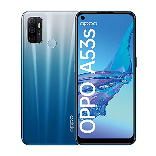 OPPO A53s Smartphone, 90 Hz 6,5 Zoll Display, 5000 mAh Akku + 18W Schnellladen, 13 MP Dreifachkamera, 128 GB Speicher, Dual SIM, Fancy Blue – Deutsche Version