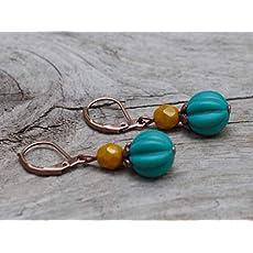 Stoffbl/üten petrolblau /& bronze Ausgefallene Vintage Ohrringe mit Stoff BL/ÜTEN /& b/öhmischen Glasperlen ocker senfgelb senf