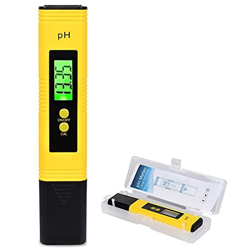 FGen PH Messgerät, PH Meter mit LCD Anzeige, PH Tester Tragbarer, Digitales PH Wert Messgerät, für Trinkwasser/Schwimmbad/Aquarium/Pool, Hohe Genauigkeit, 0.00-14.00 Messbereich (Gelb)