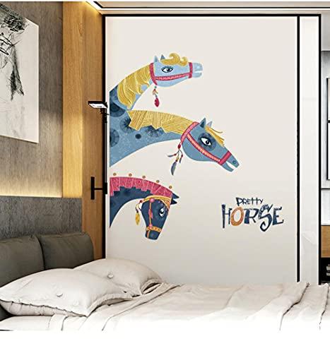 Pegatinas de pared creativas con cabeza de caballo, sala de estar, TV, Fondo, decoración de pared, pegatina de flores, autoadhesivo, decoración del hogar, decoración de la habitación