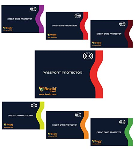 RFID Blocking Sleeves, Set With Color Coding   Identity Theft Prevention RFID Blocking Envelopes by Boxiki Travel (Set of 6 Credit Card Sleeves + 1 Passport Sleeve) (Navy Blue)