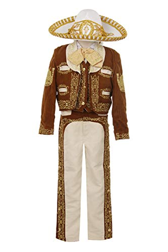Black Brown Ivory Boy Charro Mariachi Suit Outfit 6 Pc Set Wedding Party Hat (6, Brown)