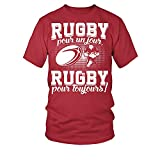TEEZILY T-Shirt Homme Rugby pour Un Jour, Rugby pour Toujours ! - Rouge - 3XL