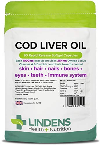 Lindens Cod Liver Oil 1000mg Capsules - 90 Pack - High in Omega 3, Vitamins A & D Contributes Towards Normal Skin, Hair, Nails, Bones, Eyes, Teeth, Brain & Immune System - UK Manufacturer, Letterbox Friendly