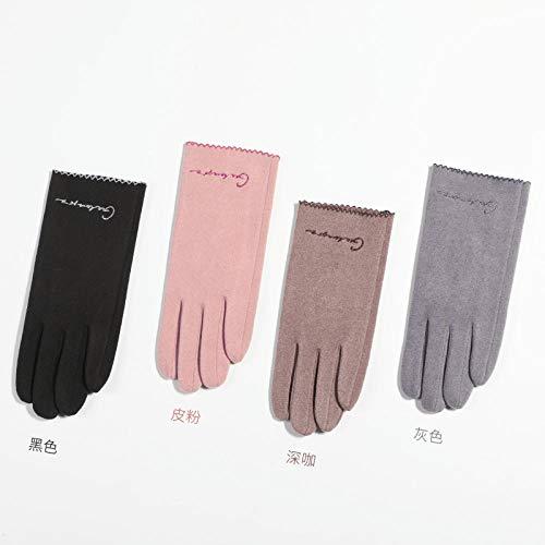 QueenAILSA Leder Handschuhe Herren Winter,Herren Und Damen Winter Selbsterhitzende Dünne Touchscreen-Handschuhe-Male_Dark Kaffee,Outdoor Fahren Winddicht Warme Handschuhe