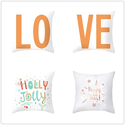 Fundas de Cojines 60x60cm Juego de 4 Funda Cojin Decorativas de Impresión a Doble Cara Cuadradas Cojines Sofa Cushion Cotton Linen Funda Cojin Naranja Blanco