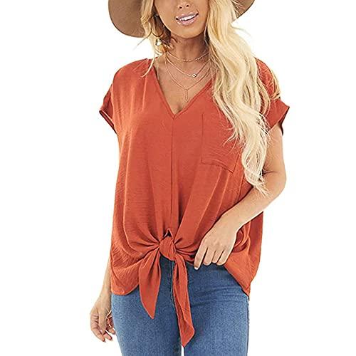 Shineshae Bluse Damen Elegant Sommer Kurzarm V-Ausschnitt Oberteile Mode Casual Krawatte Die Knotentaschen Tops Einfarbig Loose Tuniken Shirt Business Blusen
