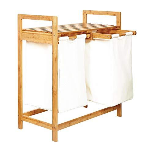 Lumaland Estantería de baño en Bambú con cesto para la Colada - Cesta para Ropa Sucia con 2 compartimientos extraibles - Mueble para el lavadero - 73 x 64 x 33 cm - Blanco