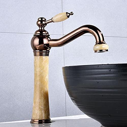 Grifos Lavabos Baratos Grifo de lavabo Grifo de lavabo de baño de jade de oro rosa Grifo de lavabo frío y caliente Grifos de jade Grifo de oro Piedra de mármol Mezclador de latón dorado