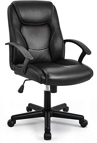 Grandes asientos de cuero muebles de computadora artificiales, espalda alta silla de oficina administrativa, la altura del asiento se puede ajustar, girar 360 grados,Black
