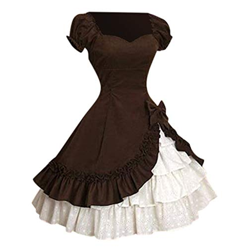 POPLY Damen Vintage Lolita Style Slim Taille Swing Rock Bow Stitching Cascading Gekräuselten Party A-Line Prinzessin Kleid Kurzarm Square Kragen