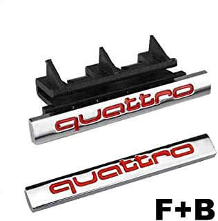 2pcs Set AM27 Red Car Styling Accessories Chromed Emblem Badge Decal Sticker Quattro Front Grille + Back For AUDI A1 A3 A4 A5 A6 A7 A8 Q3 Q5 Q7 TT R8 RS