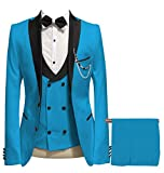Mens Solid Suit Peak Lapel Blazer 3 Pieces Formal Tuxedos Double Breasted Vest (34R,Aqua Blue)