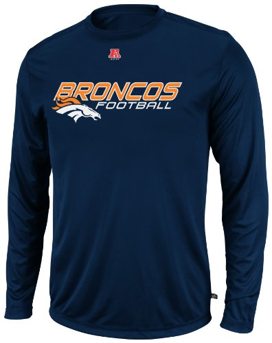 VF LSG NFL Herren Denver Broncos Short Yardage IV Athletic Navy Long Sleeve Crew Neck Synthetic Tee, Herren, Athletic Navy, Medium