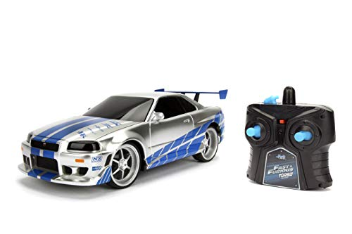 Jada Toys Fast & Furious 1:24 2002 Nissan GT-R R34 Remote Control Car RC with 2.4GHz, Toys for Kids and Adults (99371)