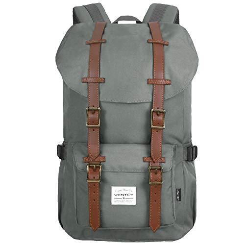 Vintage Rucksack, Studenten Rucksack Casual Uni Rucksack Herren Backpack 15,6 Zoll,Rucksack Outdoor, Nylon Grau, 23L