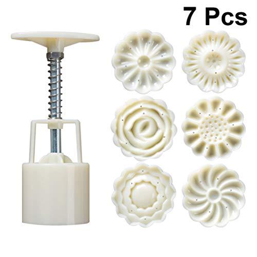 Healifty 1 Satz 50G 3D Mooncake Form 3D Blumen Hand Druck Fondant Dessert Mond Kuchenform mit Briefmarken für DIY Backen Zubehör (Weiß)
