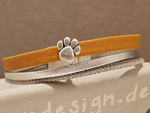 Leder Armband mit Pfote Senf Silber mit Magnetverschluss