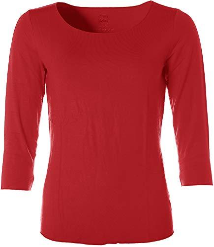 JETTE Damen Basic 3/4-Arm Shirt T-Shirt Rundhals Rot 38