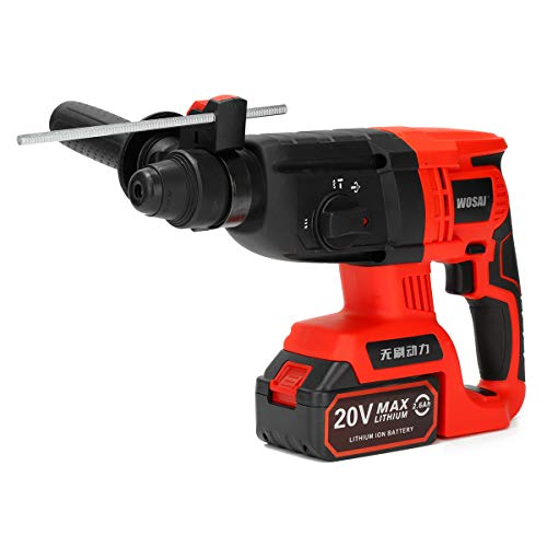 SCROLLER 20V Electric Cordless Rotary Hammer Power Drill 2.6AH Brushless Motor W/ 2 Battery