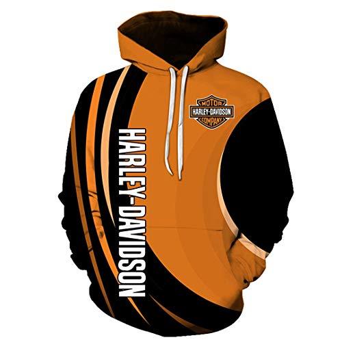 Herbst Und Winter Paar Langärmelige Pullover Mit Rundhalsausschnitt 3D Digital Harley Davidson Briefdruck Nähen Kapuzenpullover Casual Wild Large Pocket Sweatshirt (1,4XL)