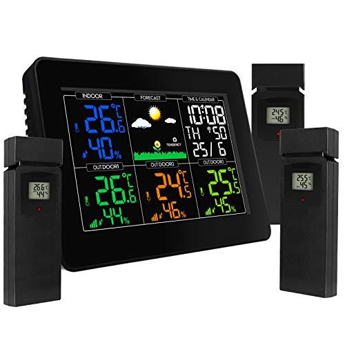 Estación Meteorológica Inalámbrica Digital Termómetro Exterior Para Interiores Humedad Con Reloj Despertador