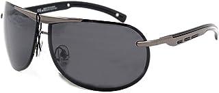 Roberto Marco - Colección Pilot/Teardrop Gafas de sol polarizadas para conducir, pesca/marco plateado, lentes de color gris claro, sin reflejos